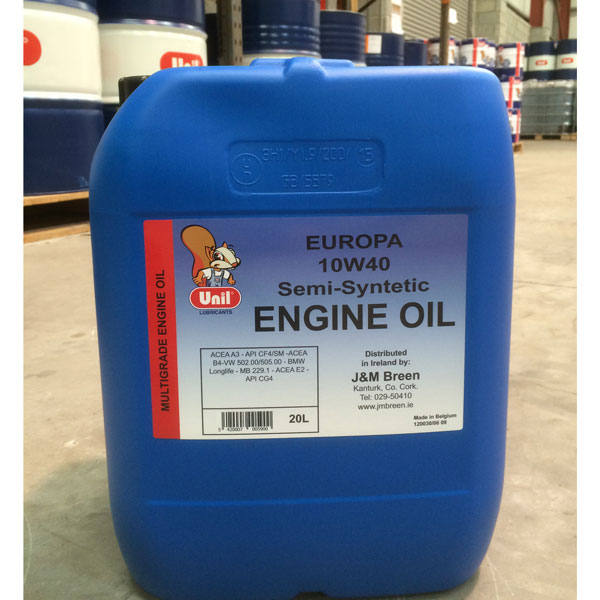 Semi synthetic engine oil europa 10w 40 20ltr for 10w 20 motor oil